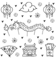 Hand draw of Chinese New Year doodles vector image vector image
