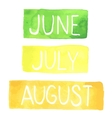 Hand painted watercolor tablets with summer months vector image