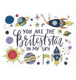 handdrawn lettering quote with galaxy vector image
