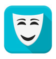 Happy mask app icon with long shadow vector image vector image