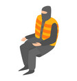 homeless man in life vest icon isometric style vector image