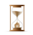 hourglass with the house construction of real vector image