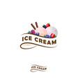 ice cream logo ribbon berries vector image vector image