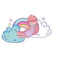 kid on clouds cartoon vector image