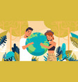man woman couple holding earth globe go green save vector image