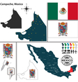 Map of Campeche vector image vector image