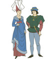 medieval couple wearing historic costumes vector image vector image