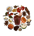 mulled wine ingredients sketches isolated on vector image