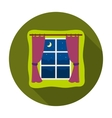 Night out the window icon in flat style isolated