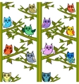 Owl on a tree branch vertical seamless vector image vector image