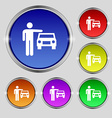 person up hailing a taxi icon sign Round symbol on vector image vector image