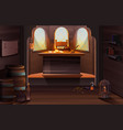 pirate captain ship cabin wooden room interior vector image vector image