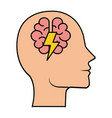 profile with brain and ray power vector image vector image