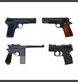 realistic guns setset of realistic pistols vector image vector image