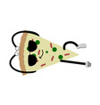 resting slice of pizza emote fast food vector image