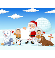 Santa Claus holding blank sign with friends vector image vector image