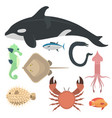 sea animals creatures characters cartoon vector image vector image