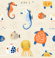seamless childish pattern with octopus sea horse vector image