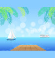 seascape with white cruise liner and blue sailboat vector image