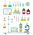 set biology laboratory flat vector image