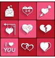 set icons valentines day red hearts signs vector image