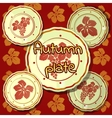 Set of autumn plates porcelain dishes vector image vector image