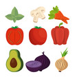 set of fresh vegetables group vector image