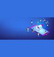 social media marketing isometric 3d banner header vector image