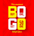 this weekend bogo sale banner design template buy vector image vector image