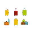 travel bag icon set flat style vector image vector image
