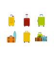 travel bag icon set flat style vector image