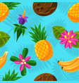 tropical fruit pattern on a blue background vector image vector image