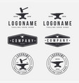 vintage retro emblem logo set anvil blacksmith vector image vector image