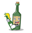 with bottle wine bottle character cartoon vector image