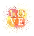 word love and colored blots vector image vector image