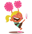 Yound blond of a smiling cheerleader cheering vector image