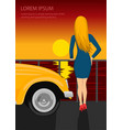 young woman standing on seafront vector image vector image
