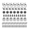 Christmas Hand drawn set of line frames vector image