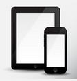 modern blacke digital tablet pc with mobile black vector image