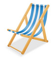 beach deck chair made of wood and fabric stock vector image