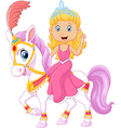 Beautiful princess riding horse isolated vector image