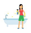 beautiful young brunette woman housewife cleaning vector image vector image