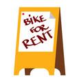 bike rentals color inscription on banner vector image vector image