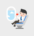 businessman sitting at seat with glass of wine in vector image