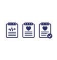 cardiogram heart diagnosis cardio test icons vector image