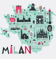 cartoon map milan italy print design vector image