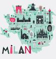 cartoon map milan italy print design vector image