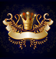cartoon royal gold crown template vector image vector image