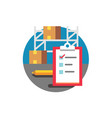 checklist and warehouse with boxes on a rack vector image