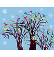 Christmas background with trees birds and snow vector image
